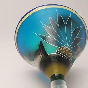 Mexican Martini Margarita Glass CACTUS MAN Hand Blown Hand Painted Cobalt Blue