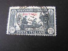 """*ERITREA, SCOTT # 148, 75c VALUE 1931 ITALIAN STAMPS OVPT """"ERITREA""""  ISSUE USED"""