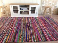 ❤️HUGE SHABBY CHIC RAG RUG MULTI COLOUR 8ft x 12ft or 240cm x 360cm EXTRA LARGE