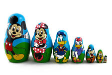 Matryoshka Mickey Mouse Donald Pete Russian Nesting Doll Stacking Matreshka 7 Pc