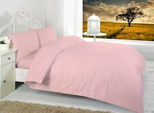 LUXURY 68 PICK PLAIN DYED POLY COTTON DUVET SET QUILT COVER SET All UK SIZES NEW