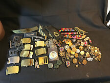 Military LOT Williams Patch Patches US USA Pin Compass Belt Buckle Medals Chain