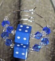 Casino Bunco DICE Charm & Crystals Beverage Wine Glass Charms,  12 Colors
