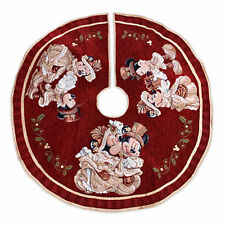 """Disney Parks Christmas Victorian Tree Skirt Mickey Minnie Red Gold Tapestry 48"""""""