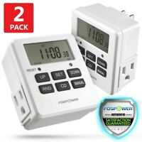 Digital Electric Programmable Dual Outlet Plug Kitchen Clock Timer Switch 7Day