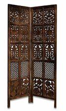 Indian Antique Furniture Handcraft Wooden Partition Screen Room Divider 2 Panels