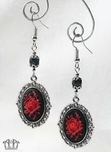Gothic BLACK RED ROSE CAMEO EARRINGS Dangle Antique Silver Victorian Style E83