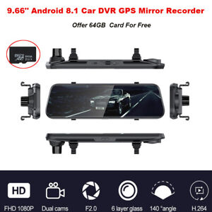 """9.66"""" Touch Stream Android 8.1 4G GPS Wifi 2CH Car Rearview Mirror Dash Cam 64GB"""