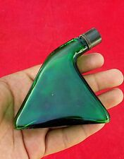Vintage Very Rare Unique Shape Reiss Green Glass Bottle With + Snake Fig On Cap