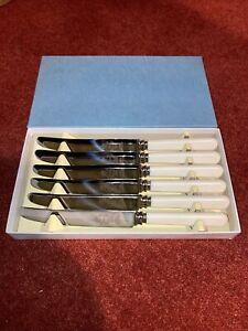 "6 x Firth Stainless Faux Bone Handled Dessert/ Tea/ Butter Knives, 8"""