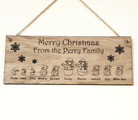 PERSONALISED CHRISTMAS FAMILY NAME PLAQUE SNOWMAN PORTRAIT SIGN WOODEN XMAS GIFT