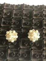 Vintage Faux Pearl And Clear Bead Couster Clip On Earrings