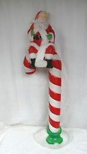 "49"" Santa's Best Santa On Candy Cane Lighted Christmas Blow Mold Outdoor Yard"