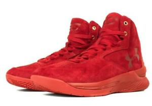 Under Armour Curry 1 Lux Mid Suede Triple Red 1298701 600 US Men's 9