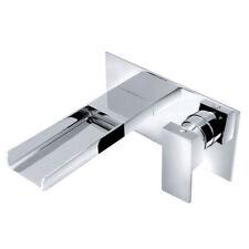 Wall Mounted Bathroom Waterfall Basin Sink Mixer Tap Single Lever Brass Modern