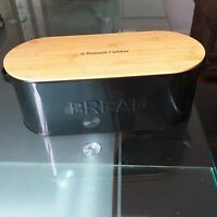 Black Enamel bread bin bamboo lid Russell Hobbs Contemporary loaf  bread bin new