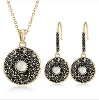 Handmade Round Black Onyx Cat's Eye 18K Yellow Golde Plated Pendant Earrings Set