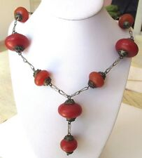 Ancien collier bijou vintage couleur vieil argent perles pendant rouge brun 641