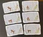Vintage 6 cocktail napkins Embroidered MADEIRA? Horse, hunter/jumper Rare