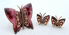 VTG MATISSE RENOIR Signed Red Pink Enamel Copper Butterfly Brooch Earrings