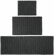 mDesign 100% Cotton Luxury Rectangular Spa Mat Rugs, Set Of 3 - Black