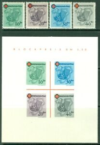 EDW1949SELL : GERMANY 1949 Sc #8NB3-6, 6a Red Cross Cplt set w/ S/s. VF Cat