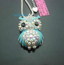 C556L?  Betsey Johnson Crystal  AB  Enamel Cute Owl Pendant Long Necklace