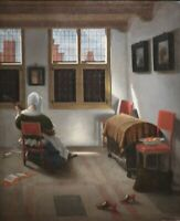 """oil painting handpainted on canvas """"Interior with Girl Playing Guitar   """""""