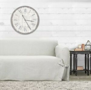Farmhouse Basketweave Relaxed Fit Heather Woven Sofa Slipcover OATMEAL, Sure Fit