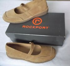 NIB Rockport Seaview Cashew Putty Mastic Suede Mary Janes Gum Shoes Womens 6