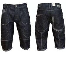 """Mens Crosshatch Wing 16 Cargo Denim Shorts - Dark Wash Size Waist 32"""""""