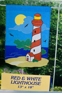 """Red and White Lighthouse Garden Flag New Creative 13"""" x 18"""" Free Shipping"""