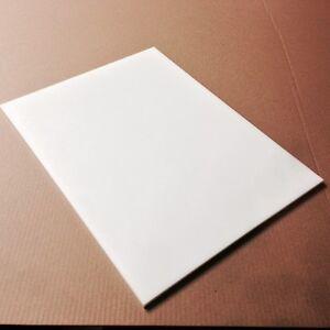 "12"" x 8"" x 1/2"" Thick White Plastic (HDPE) Cutting Board  - FDA/NSF/USDA"