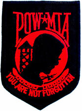 POW-MIA EMBROIDERED PATCH iron-on VIETNAM WAR BLACK RED military prisoner emblem