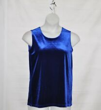 Bob Mackie Stretch Velour Sleeveless Shell Size S Blue
