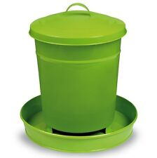 NEW 4kg GLOSSY PAINTED METAL BUCKET POULTRY FEEDER w/LID CHOOK Hen CHICKEN GREEN