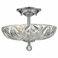 Mansfield 4 Light Chrome Finish Clear Crystal Bowl Semi Flush Mount Ceiling Lit