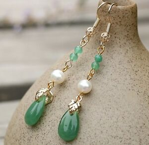Oriental classic style handmade glass waterdrops earring with jade