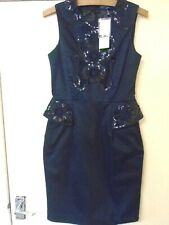 French Connection Milla Size 10 Black Sequin Pencil Peplum Dress Party/Cocktail