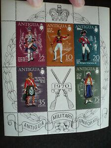 Stamps - Antigua - Scott# 266a - Souvenir Sheet of 5 Stamps + 1 Label