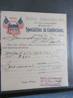 1898 Antique Signed Document, American Confections, Reading Confectionery, PA