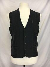 YSL Yves Saint Laurent Mens Sweater Vest 100s Wool Gray M