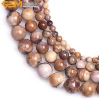 Natural Round Brown Venus Jasper Stone Loose Beads For Jewelry Making 15'' DIY