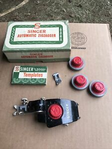 Vintage Singer Automatic Zigzagger Simanco 160985 W/Templates Original Box NICE