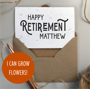 PERSONALISED Happy Retirement Card / Plantable SEEDED card / Men's Retired Gift