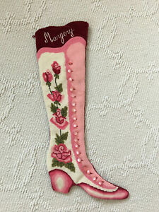 Vintage Needlepoint Stocking Floral Pattern Red Velvet Personalized Name Margery