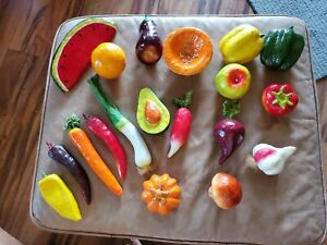 Paper Papier Mache Decorative Assorted Fruits & Vegetables Lot of 19 Mexico