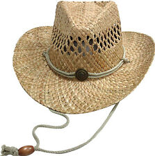 Fashion Men's Straw Beach Hatband Western Cowboy Outdoor Bucket Straw Hat