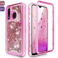 For Samsung Galaxy A10e A20 A30 A50 Hard Clear Glitter Sparkle Liquid Bling Case
