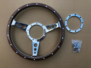 """Traditional Dished Polished 3 Spoke Alloy Riveted Walnut Wood 13"""" Steering Wheel"""